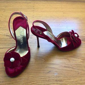 Red Chanel velvet sandals